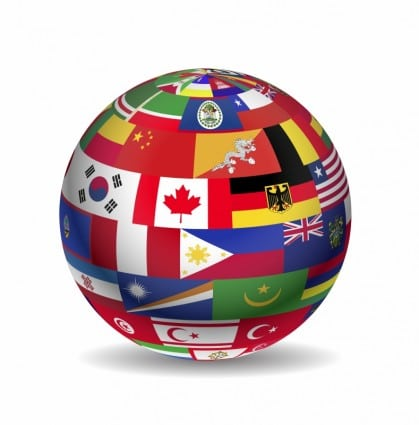 globe covered in flags