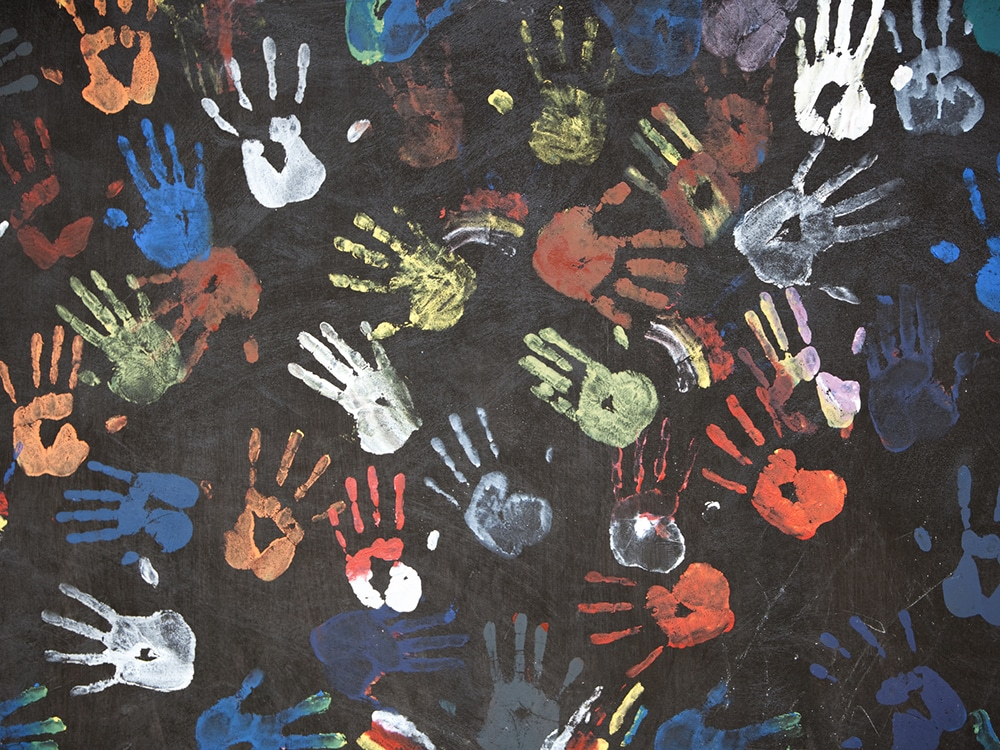 handprints in multicolors